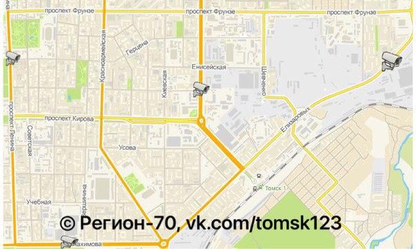 Карта всех камер видеофиксации в Томске