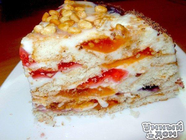 """Торт """"Битое стекло"""" - Очень красиво, просто и вкусно!!! Обязательно попробуйте. Вкусный, нежный легкий тортик. Продукты: упаковка готовых бисквитных коржей (два нужно поломать кусочками, третий оставить целым) 3 пачки желе разного цвета и вкуса, (или купить готовое, если времени мало) 500гр сметаны 1 ст. сахара желатин 20 гр ванилин Итак: заранее приготовить желе, а если уже есть готовое, то хорошо, времени вообще мало займет приготовить крем: замочить 20 гр желатина в 10 ложках…"""