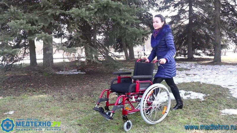 Коляска инвалидная с амортизаторами передних и задних колес 7018 A0603PU J обзор от