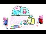 Развивающий мультфильм-раскраска. Папа Свин, Пеппа и Джордж смотрят телевизор.