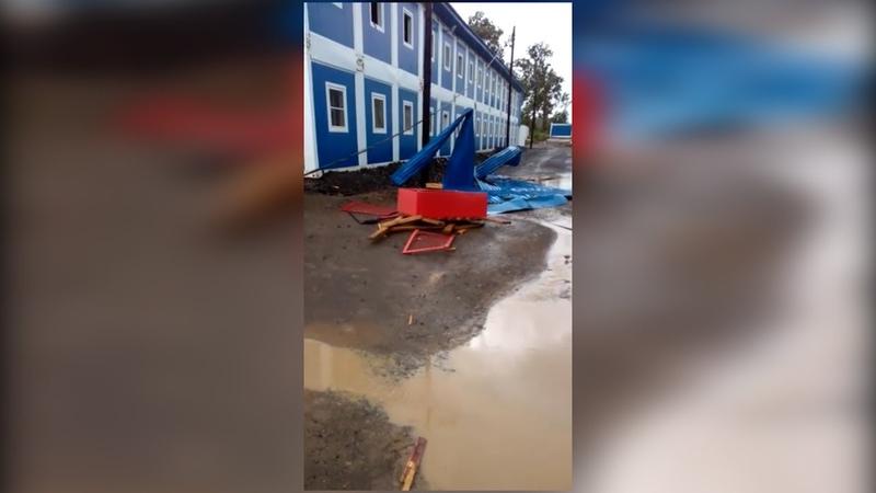 Модульные здания пережили ураган в Амурской области в вахтовом поселке для нефтяников