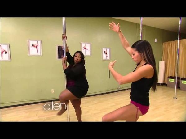 Loni Love Learns to Pole Dance w Nicole Williams at Allure Dance Studio Ellen Show