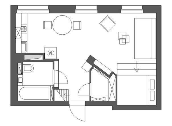 Квартира площадью 36 кв.м. в Москве
