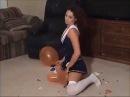 WHITE CHICK LOONER GIRL POPS THE BALLOONS