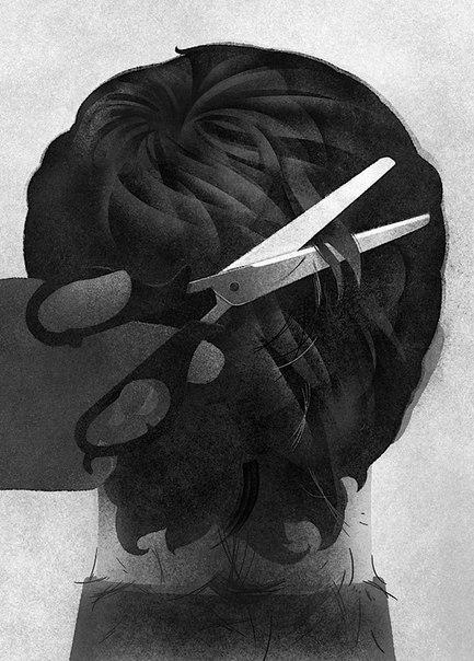 """Karolus Strautniekas - иллюстратор из Вильнюса, Литва. Серия: """"Портреты сзади"""""""