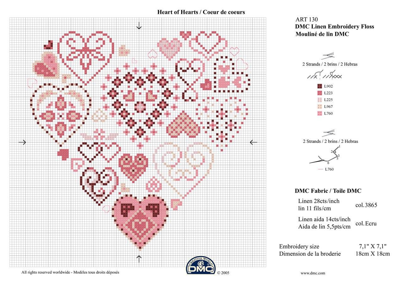 вышивка сердечек кркстиком схемы