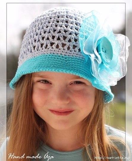 Летняя шляпка крючком для девочки (8 фото) - картинка