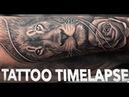 TATTOO TIMELAPSE LION and ROSE CHRISSY LEE