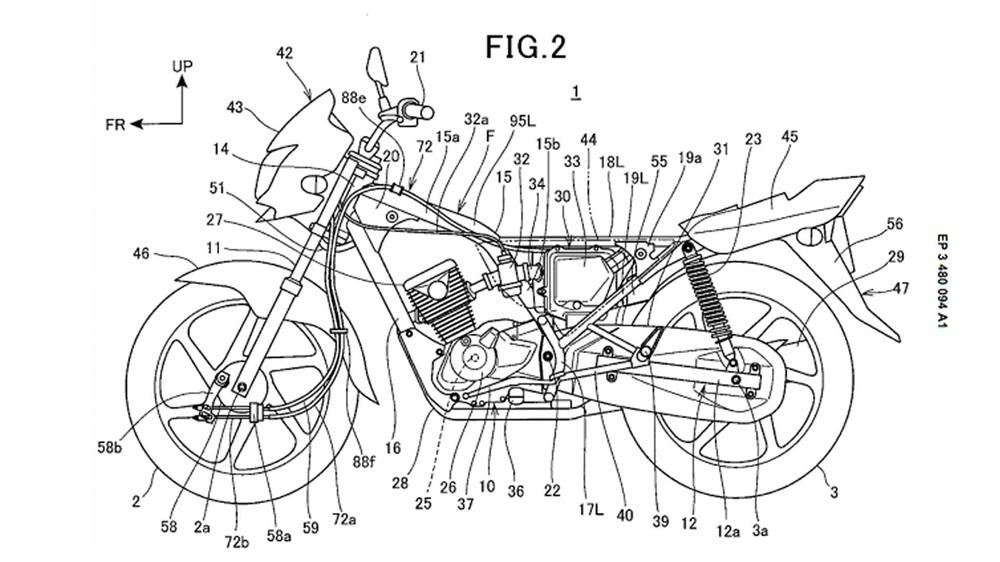 Компания Honda патентует одноцилиндровый мотоцикл с барабанными тормозами