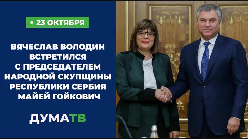 Вячеслав Володин встретился с Председателем Народной скупщины Республики Сербия Майей Гойкович