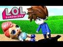 Кукла ЛОЛ упала на глазах у мальчика аниме! Мультик LOL про живые куклы лол сюрприз