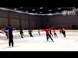 Brian Orser and Tracy Wilson training Team China in Beijing