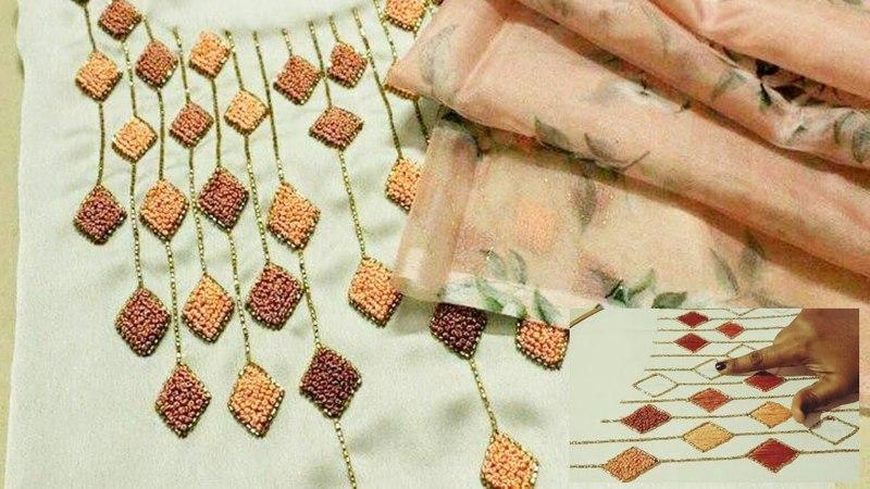 Aari work on chudidhar Top/ making elegant designs on chudidhar /kurti fabric