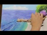 Завораживающий процесс написания картины мастихином Ж-М Жаньячиком