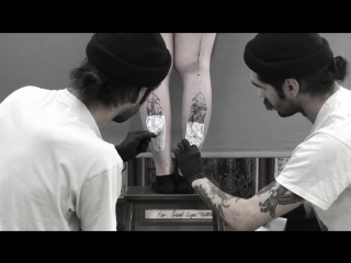 A.DAYNECO _ blackwork tattoo _ COUPLE CATS _