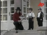 Michael Jackson visits a hospital in Budapest 1996