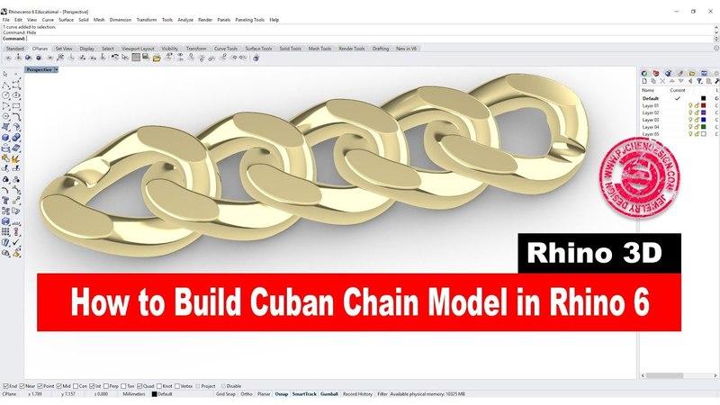 Cuban Chain 3D model in Rhino 6 (2018)- Jewelry CAD Design Tutorial 26: