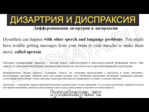 Дифференциация дизартрии и диспраксии (Марианна Лынская, 2018)