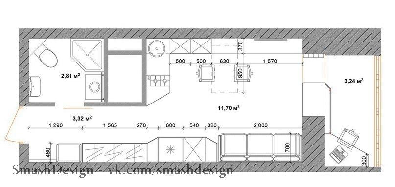 Очень маленькая, но продуманная квартира-студия, площадь всего 17 кв.