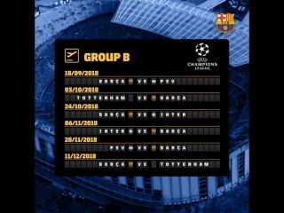 Расписание матчей Барселоны в ЛЧ