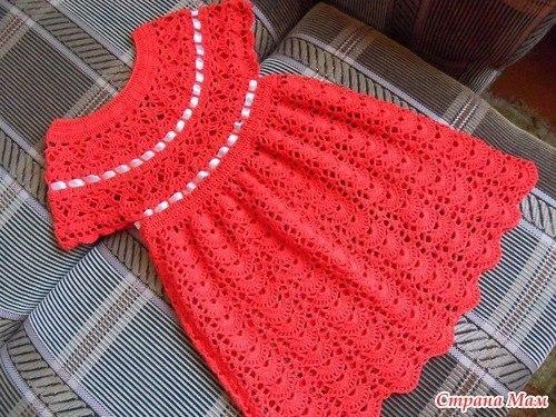 Кокетка крючком для детского платья схемы фото