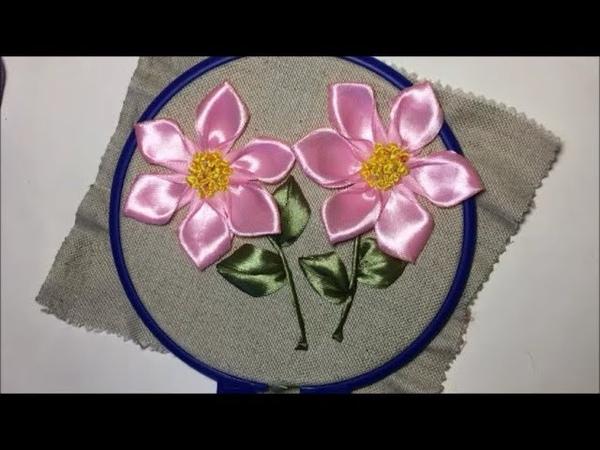Очень красивый цветок из атласной ленты / Very beautiful flower of satin ribbon