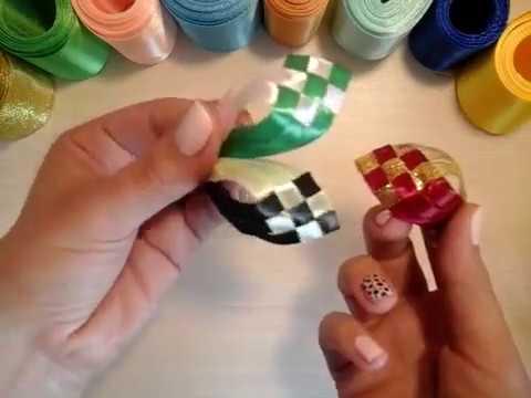 лепесток шахматка. МК bloemen gemaakt van satijnen lint decoratie\kanzashi