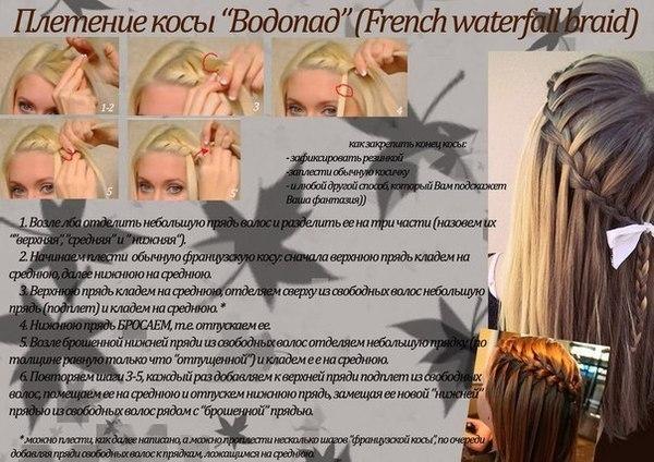 """Плетение косы """"Водопад"""""""