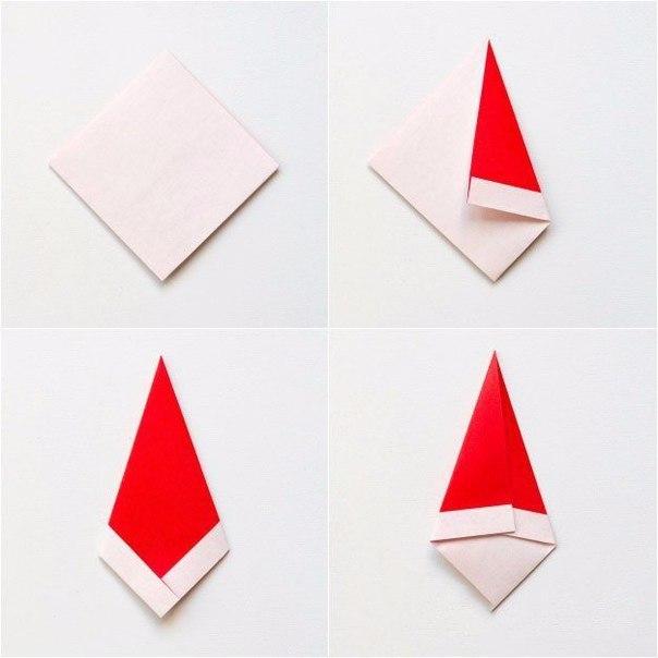 Дед мороз оригами открытка, поздравление