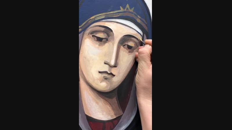 Работа над иконой Покров Пресвятой Богородицы