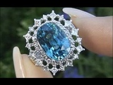 World Class Internally Flawless Cambodian Blue Zircon &amp Diamond Ring Solid 18K Gold Must Be Sold