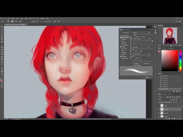Goth Girl - Photoshop Timelapse Speed Painting process by Cristina de Elías