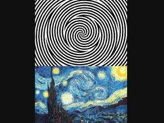Фиксируй взгляд 10 секунд на белой точке.Затем смотрите на Звездную ночь Ван Гога внизу. Сколько секунд картина движется(в лс)?