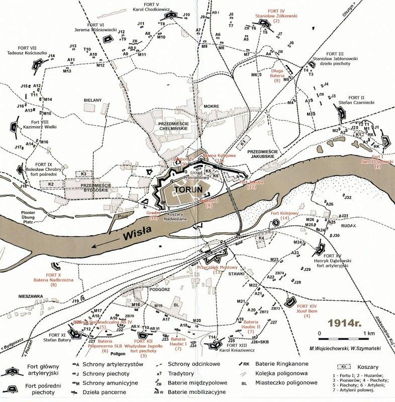 Крепость Торунь на 1914 г.