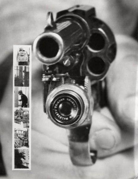 Пистолет с фотоаппаратом, срабатывающим непосредственно перед выстрелом, 1938 г.