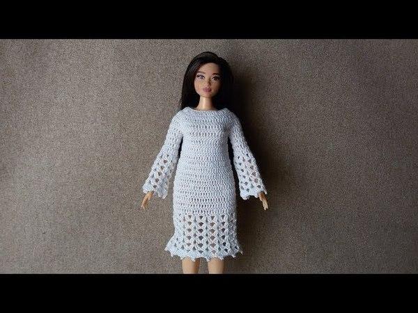 Sukienka dla Barbie z długim rękawem - Szydełko