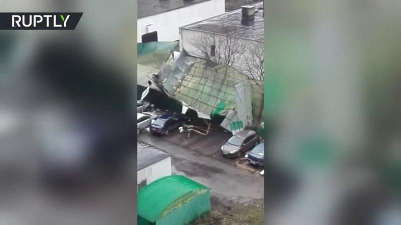 Видео последствий урагана в Москве