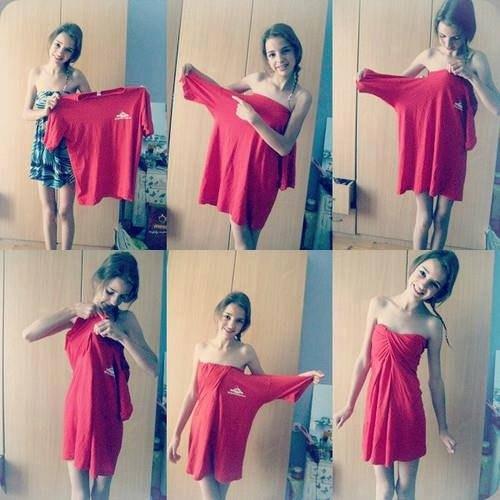 Как сделать из футболки платья без шитья