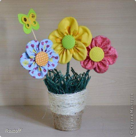 Цветы в горшке своими руками из ткани