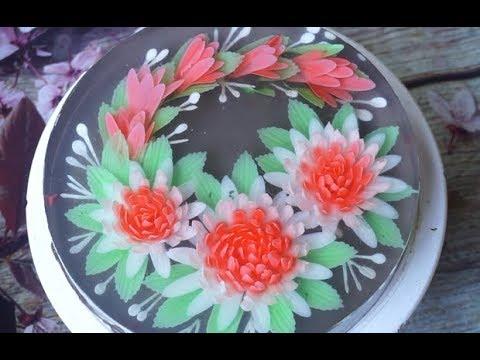 DIY How to make 3D flower gelatin art cake