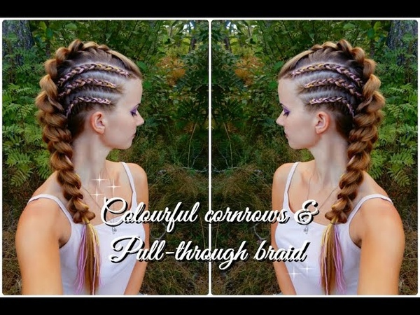 How to braid DIY | Colourful cornrows and pull-throughbraid