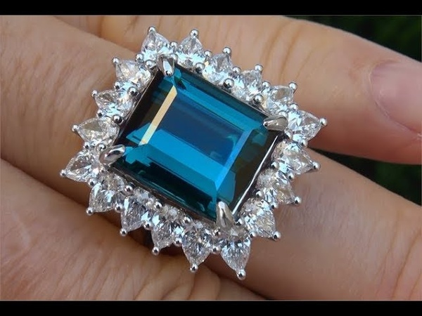 GIA Certified 16.05 ct FLAWLESS Natural Indicolite Tourmaline Diamond PLATINUM Estate Ring - A131657