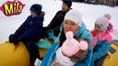 Зимний Аттракцион Снежный Банан ❄ Катаемся на Большом Тюбинге
