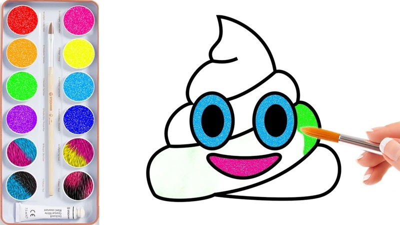 How to Draw Poop with Colored Glitter | Glitter Poop Drawing and Coloring for Kids