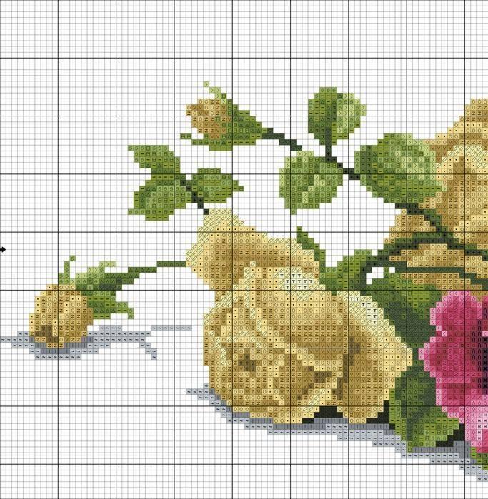 Вышивка крестиком - розы.