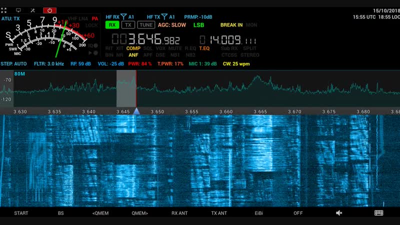 SDR Transceiver MB1 receiving SSB CW, RX and TX antenna in the city