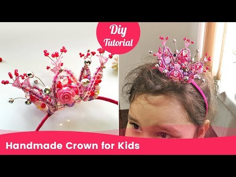 Handmade Beaded Crown for Kids. Tiny Tiara for Girls from Beads.