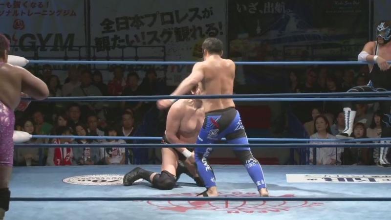 Atsushi Aoki, Hikaru Sato vs. Takao Omori, Yutaka Yoshie (AJPW - Champion Carnival 2018 - Day 7)