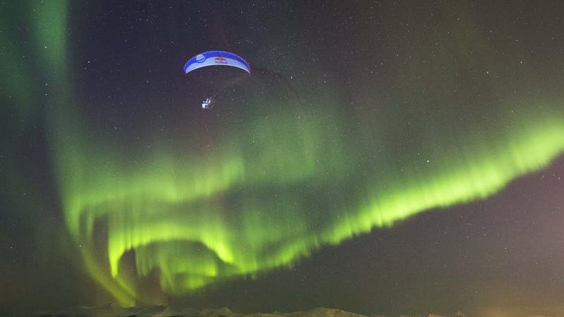 Breathtaking Paraglide Flight Through Aurora Borealis   Horacio Llorens