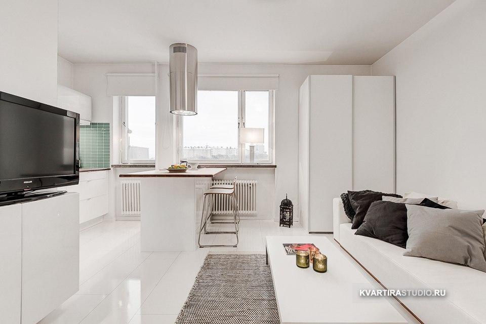 Белый интерьер маленькой квартиры 23 м в Стокгольме / Швеция - http://kvartirastudio.